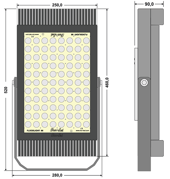 Fun-Floodlight 88 - Technical Drawing