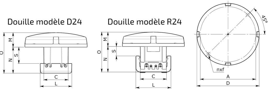 Fun-Spot D45 mm au D75 mm AMOVIBLE FRONTALEMENT – AMPOULE COMPLETE