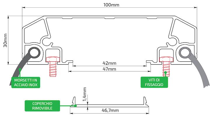 Disegno Tecnico Profilo Alluminio 100x30 mm