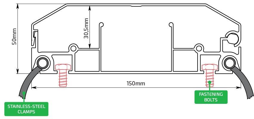 Techincal Drawing Aluminum Profile 100x50 mm