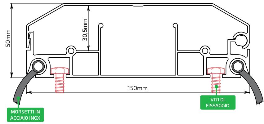 Disegno Tecnico Profilo Alluminio 100x50 mm