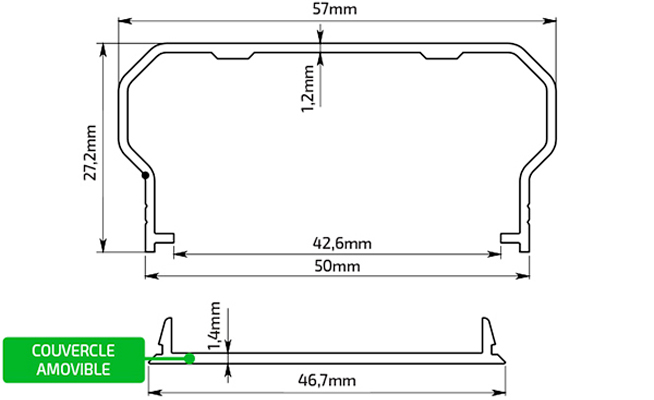Dessin Technique Profils d'Aluminium 57x27,2 mm
