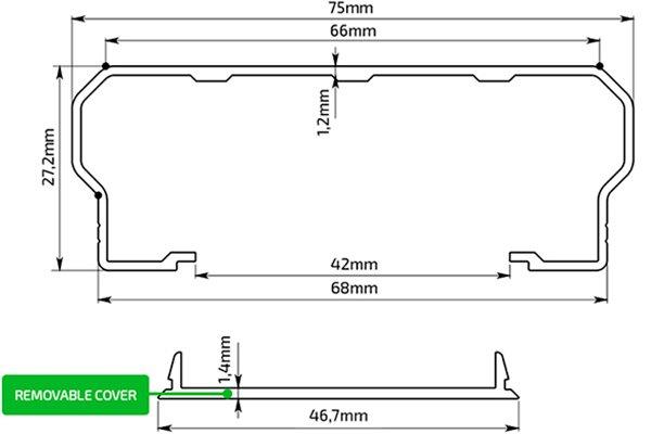 Techincal Drawing Aluminum Profile 75x27,2 mm
