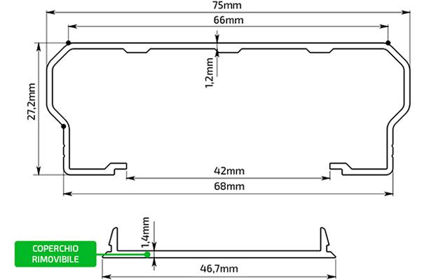 Disegno Tecnico Profilo Alluminio 75x27,2 mm